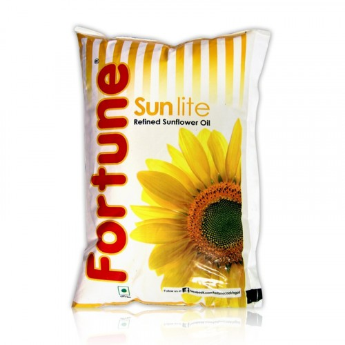 Fortune Sunflower Refined Oil - Sun Lite, 910 gm Pouch